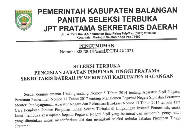 Seleksi Terbuka Pengisian Jabatan Pimpinan Tinggi Pratama Sekretaris Daerah Kabupaten Balangan